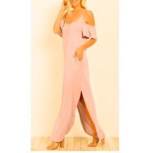 NWT Summer Cold Shoulder Maxi Dress, Pink